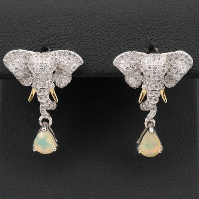 Sterling and Opal Elephant Head Earrings with Cubic Zirconia Accents