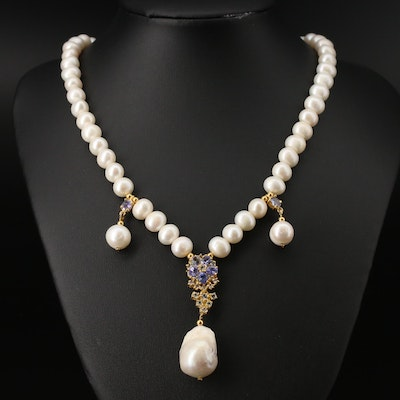 Sterling Silver Pearl, Tanzanite and Topaz Necklace