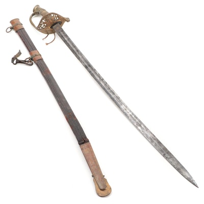 Civil War Era Proved Sword Attributed to Wilkerson with Leather Scabbard, 19th C