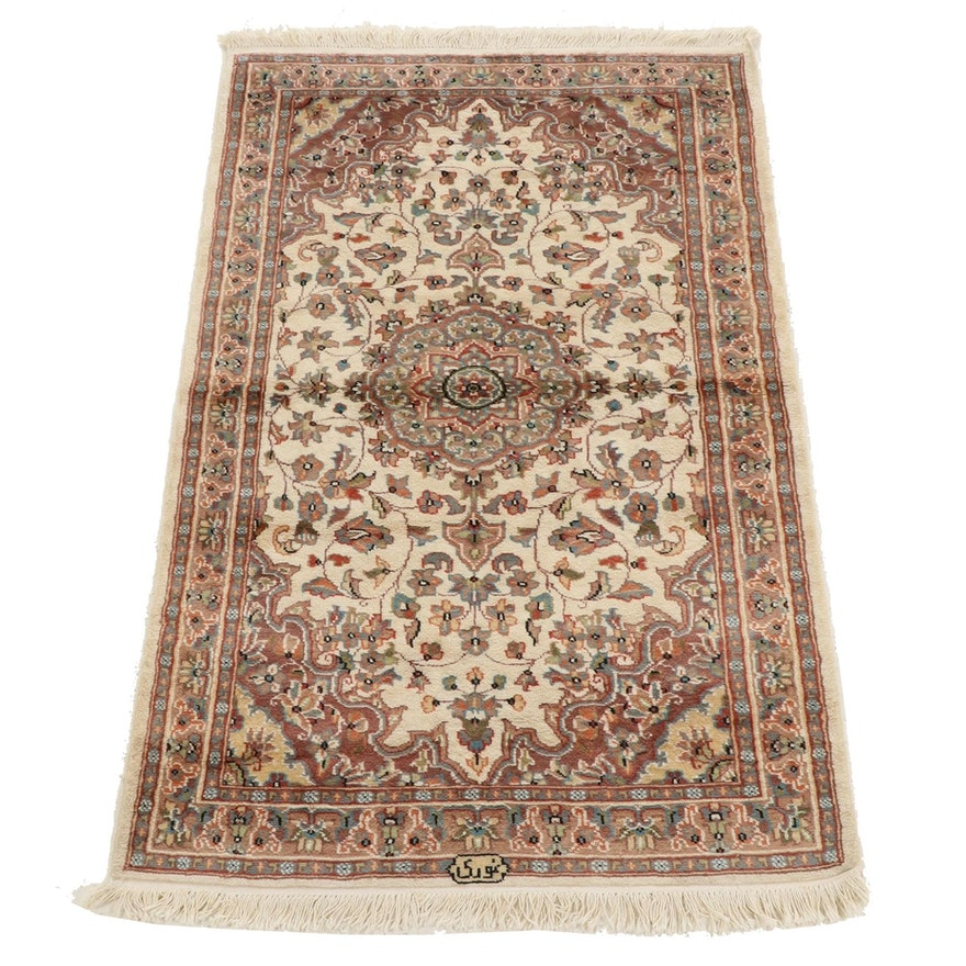 3'2 x 5'8 Hand-Knotted Indo-Persian Tabriz Silk Blend Rug