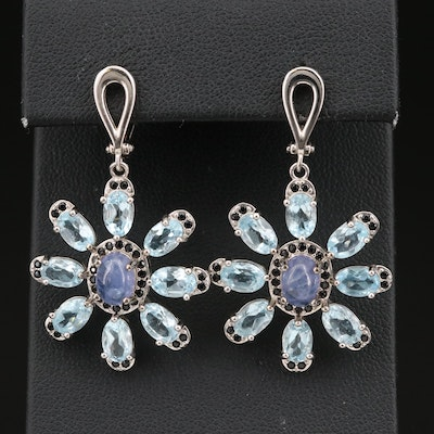 Sterling Silver Tanzanite and Topaz Earrings with Cubic Zirconia Accents