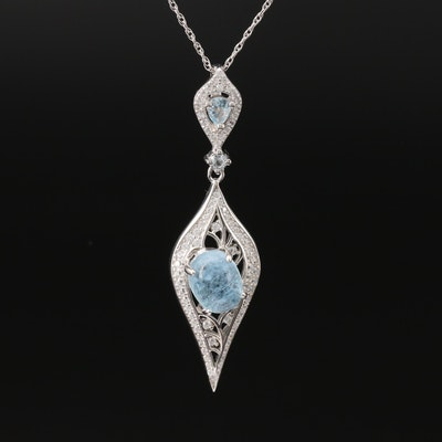 Sterling Aquamarine, Topaz and Cubic Zirconia Pendant Necklace
