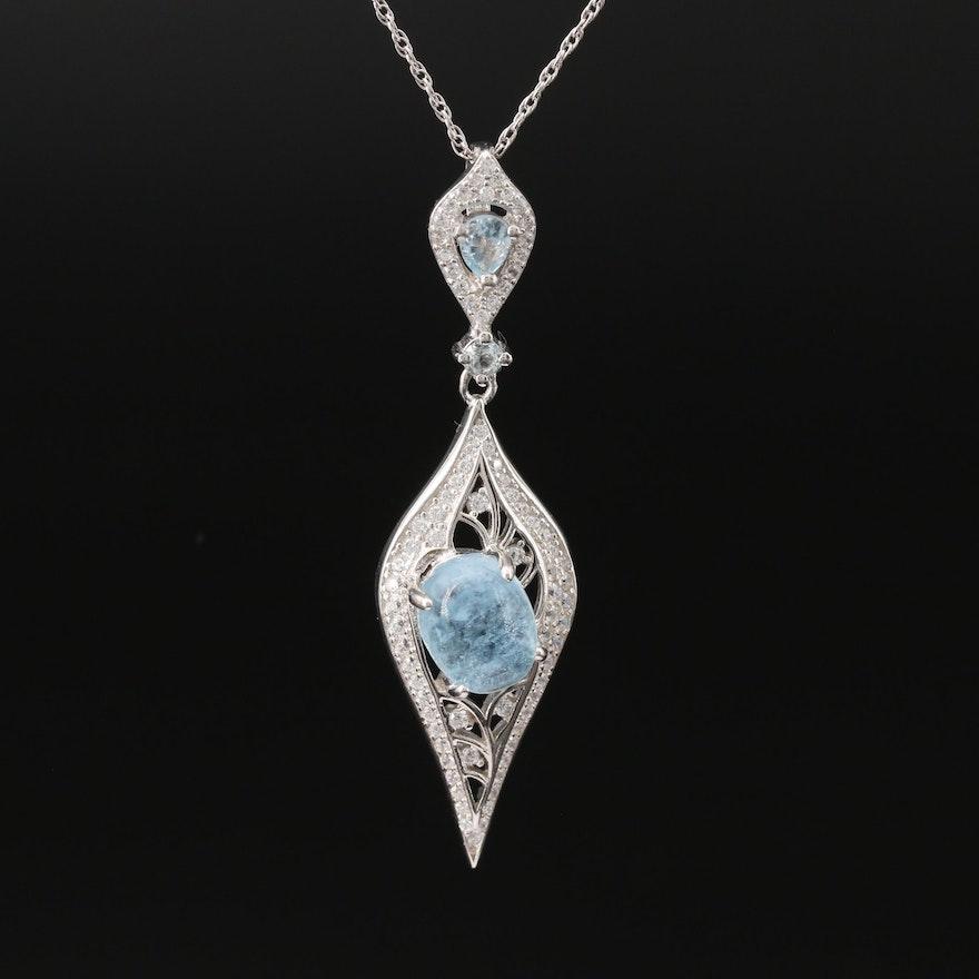 Sterling Aquamarine, Topaz and Cubic Zirconia Pendant Necklace