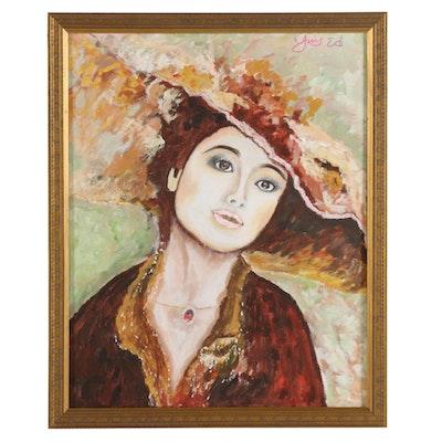 "Ying Ed Portrait Acrylic Painting ""Emma,"" circa 2019"