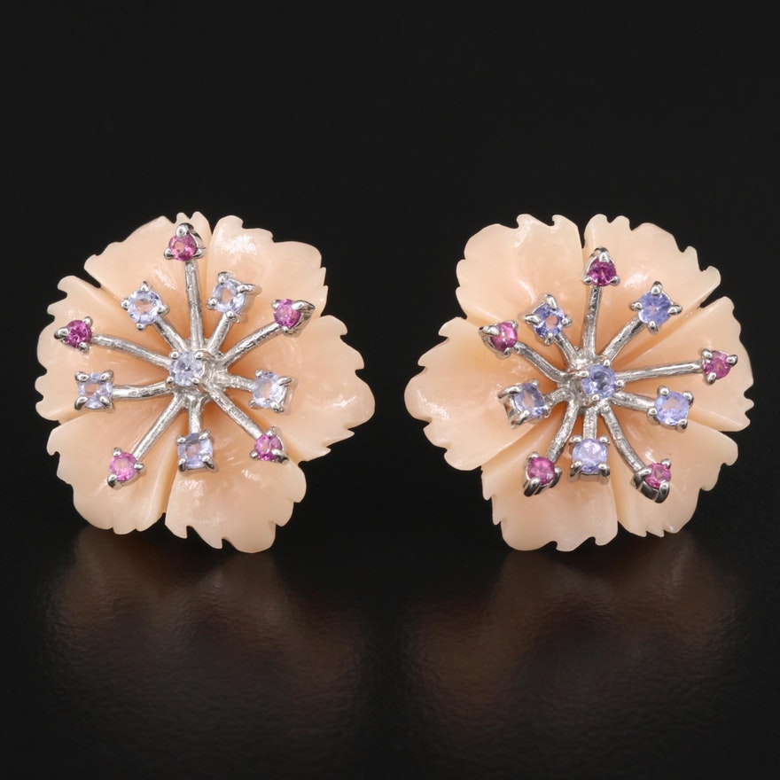 Sterling Silver Imitation Coral, Tanzanite and Garnet Flower Earrings
