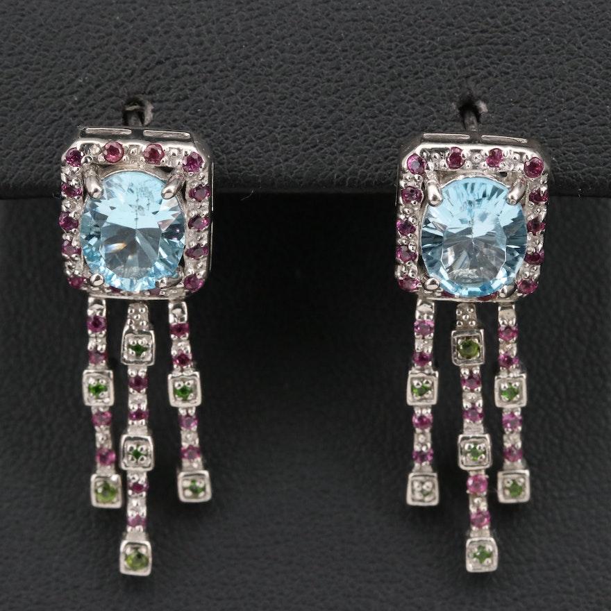 Sterling Topaz, Rhodolite Garnet and Diopside Dangle Earrings