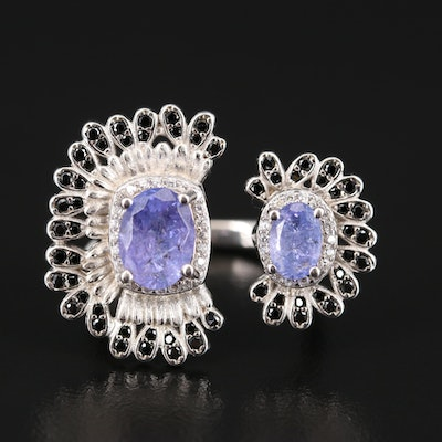 Sterling Tanzanite and Black Spinel Open Shank Ring