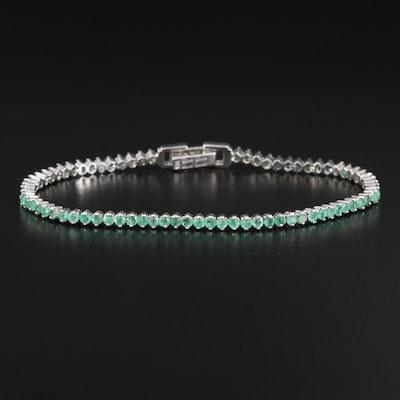 Sterling Silver Emerald Line Bracelet