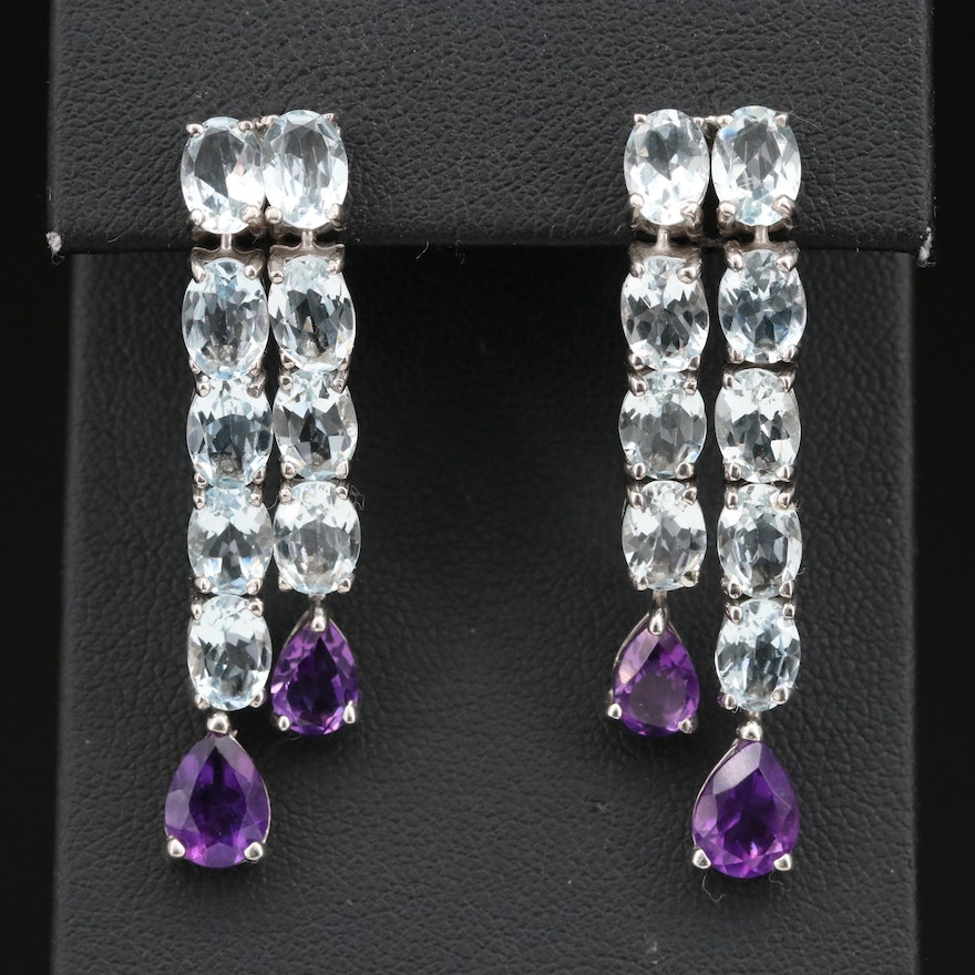 Sterling Silver Waterfall Earrings in Aquamarine and Amethyst