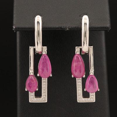 Sterling Corundum and Cubic Zirconia Earrings
