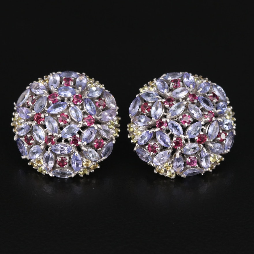 Sterling Tanzanite, Garnet and Sapphire Cluster Earrings