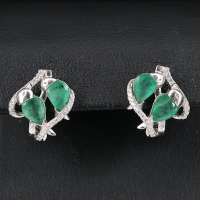 Sterling Emerald and Cubic Zirconia Bird Earrings