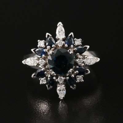 18K 1.25 CT Sapphire and Diamond Ring