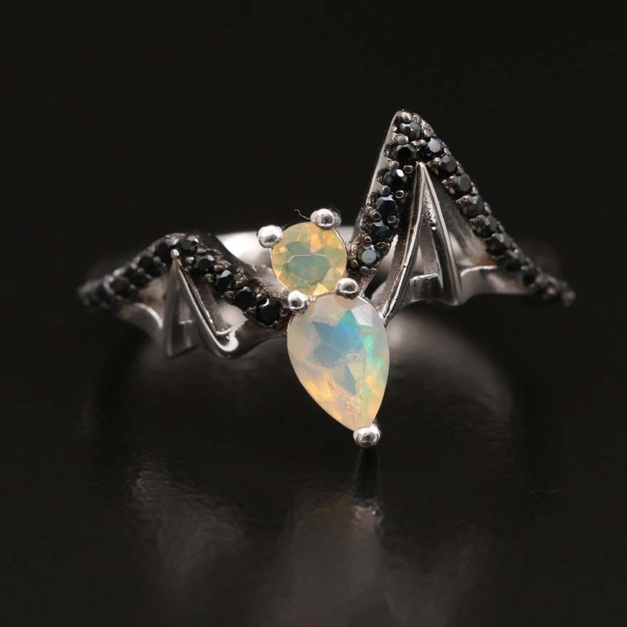 Sterling Silver Opal and Spinel Bat Ring