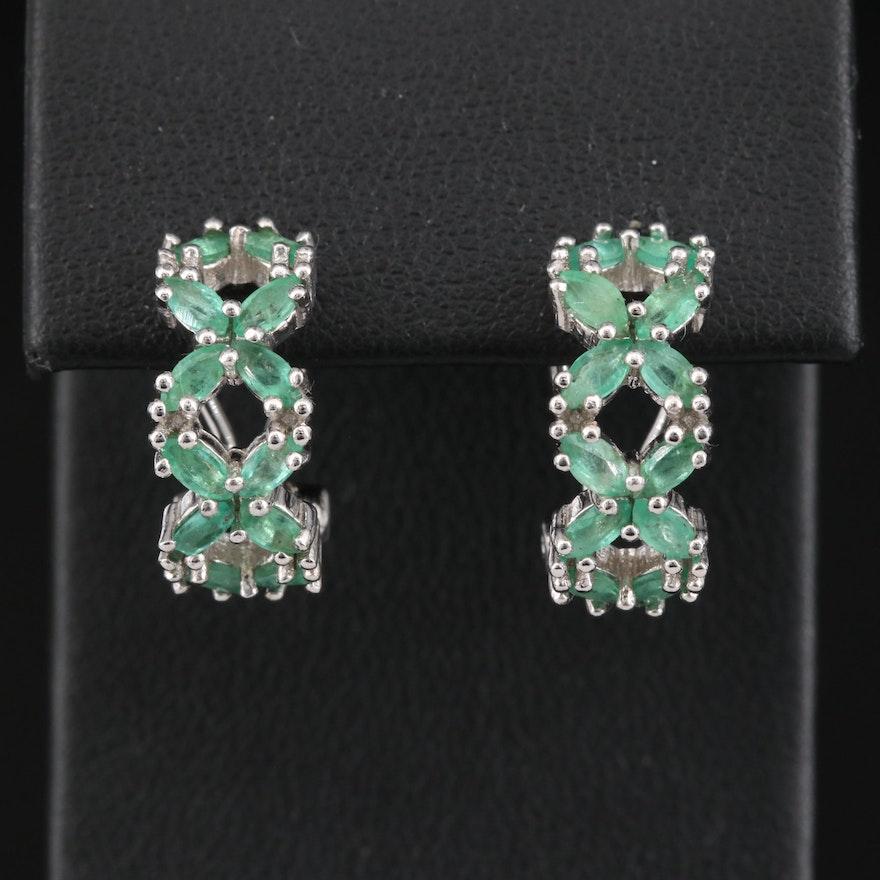 Sterling Emerald Half Hoop Earrings