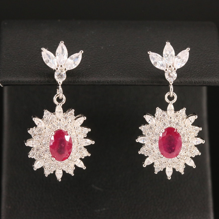 Sterling Silver Corundum and Cubic Zirconia Dangle Earrings