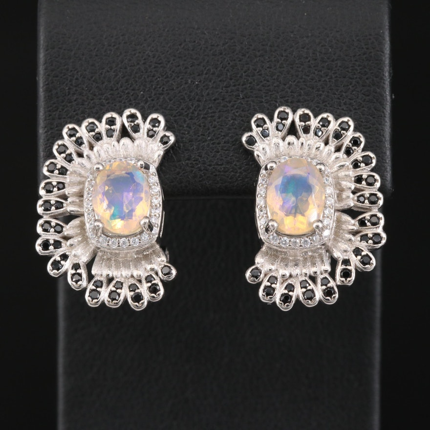 Sterling Opal and Spinel Earrings