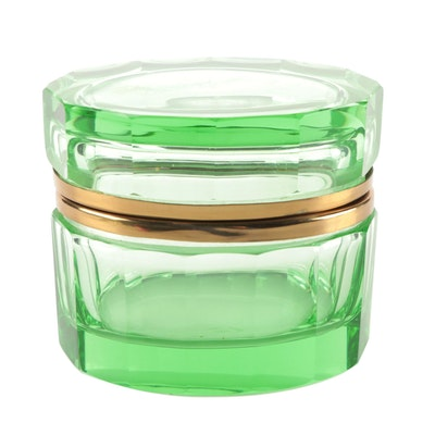 Green Glass Faceted Casket Box
