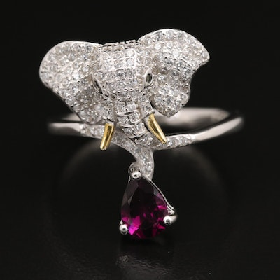 Sterling African Elephant Ring with Garnet, Cubic Zirconia and Spinel