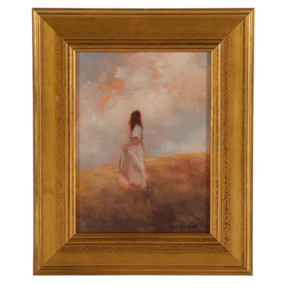 """Miriam Scigliano Oil Painting """"Tonal Figure,"""" 2020"""