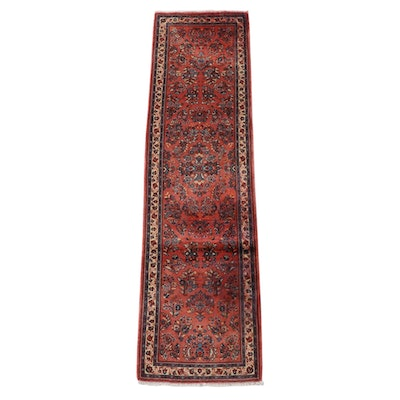 2'8 x 10'2 Hand-Knotted Persian Sarouk Wool Carpet Runner