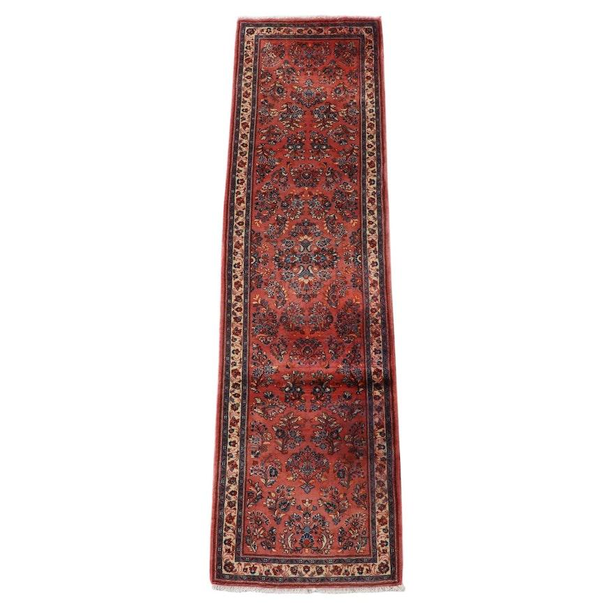 2'8 x 10'2 Hand-Knotted Persian Sarouk Wool Carpet Runner