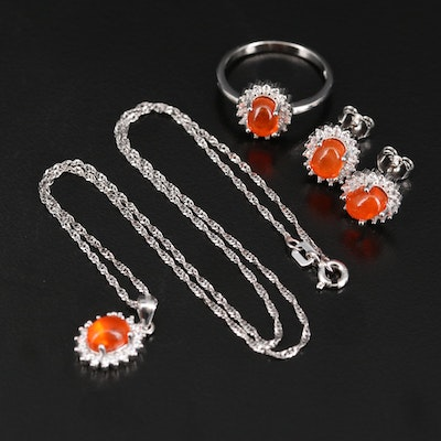 Sterling Silver Opal and Cubic Zirconia Jewelry Set