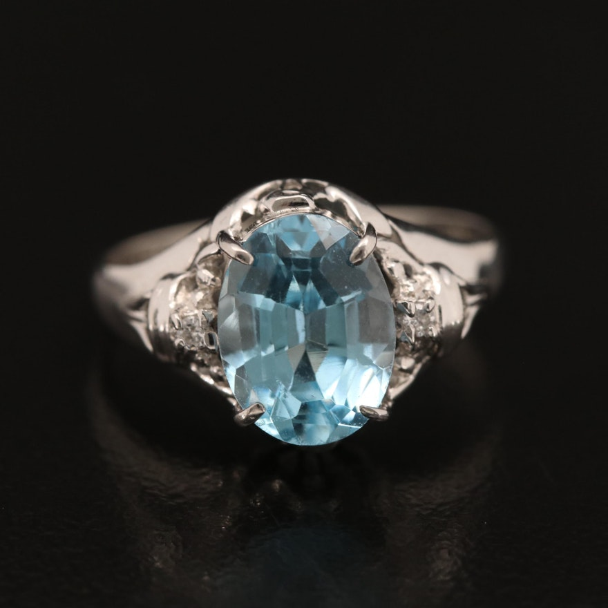 Platinum Topaz and Diamond Ring