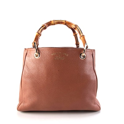 Gucci Small Bamboo Shopper Satchel Bag in Light Brown Grained Leather