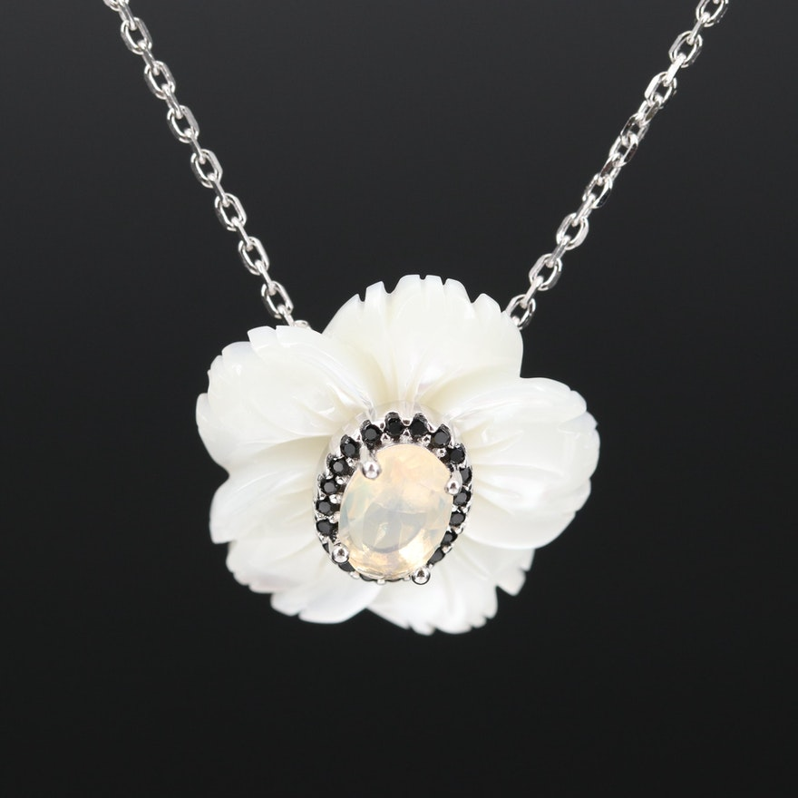 Sterling Opal, Mother of Pearl and Cubic Zirconia Flower Necklace