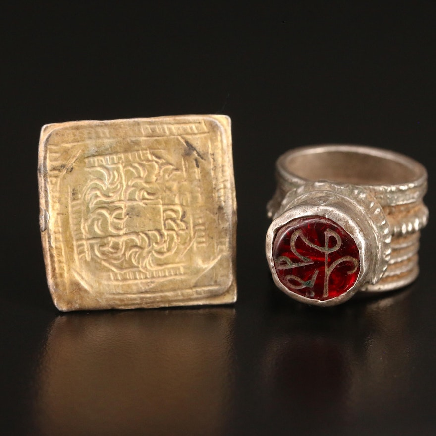 Omani Sterling Silver Sard and Square Rings