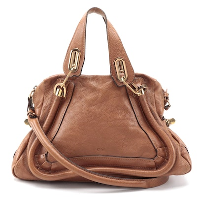 Chloé Paraty Tan Grained Leather Two-Way Satchel