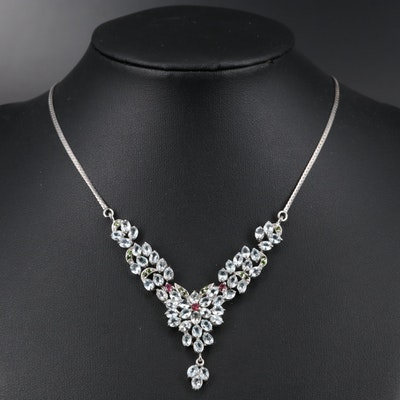 Sterling Silver Aquamarine, Rhodolite Garnet and Diopside Floral Necklace
