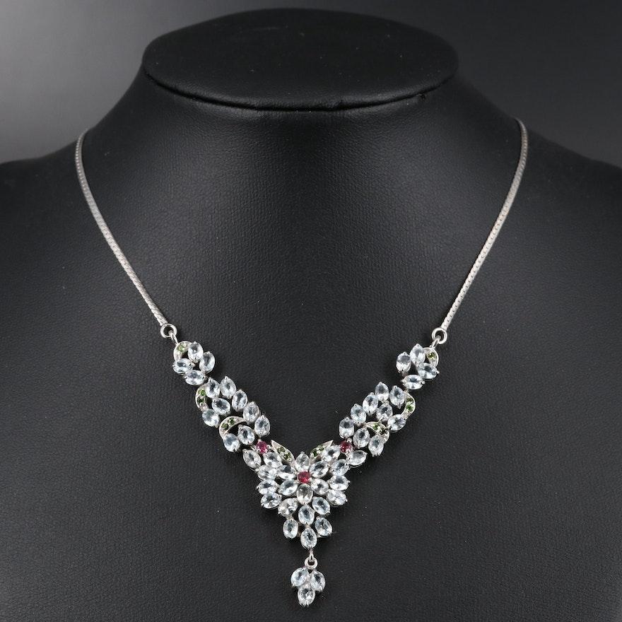 Sterling Silver Aquamarine, Rhodolite Garnet and Diopside Floral Necklace