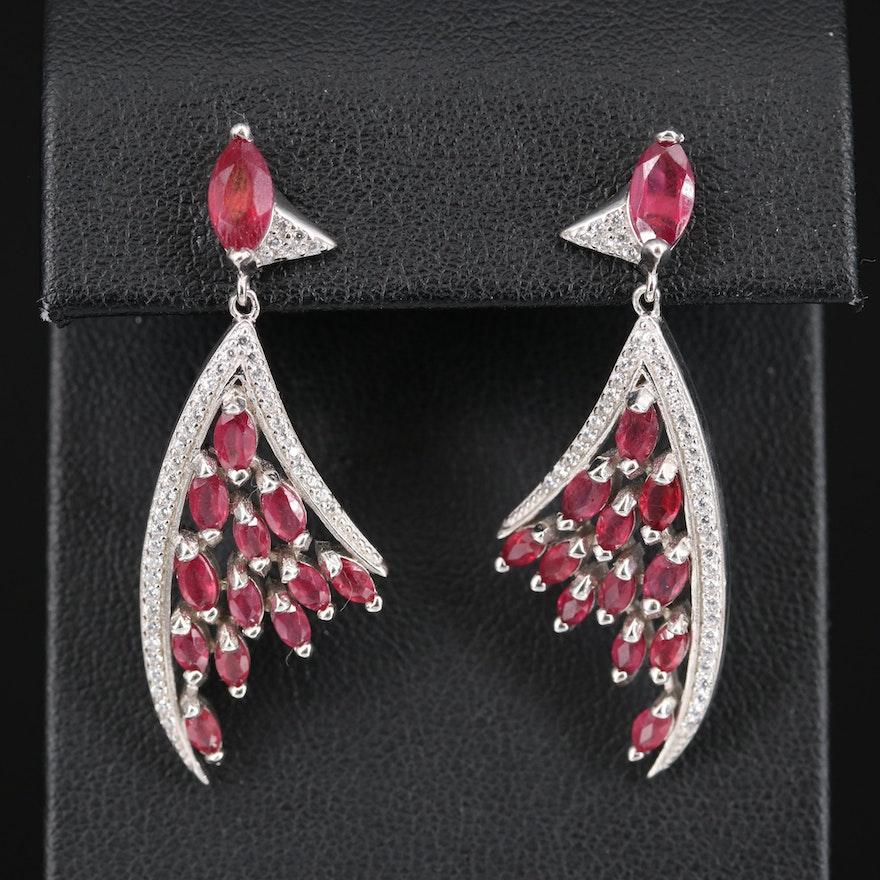 Sterling Corundum and Cubic Zirconia Triangular Earrings