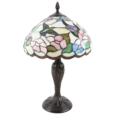 Art Nouveau Style Patinated Metal Table Lamp with Hummingbird Slag Glass Shade