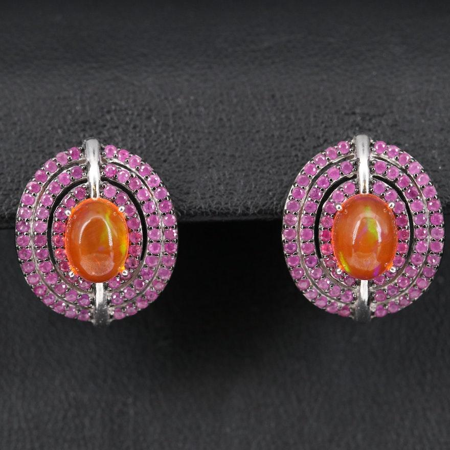 Sterling Opal and Ruby Triple Halo Earrings