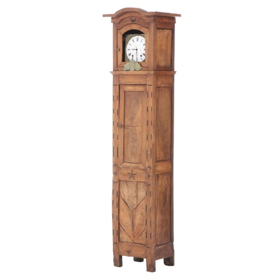 Avenol fils à Questembert Grandfather Clock Casing w/Pyrography Folk Art, 18th C