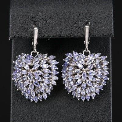 Sterling Silver Tanzanite Drop Earrings