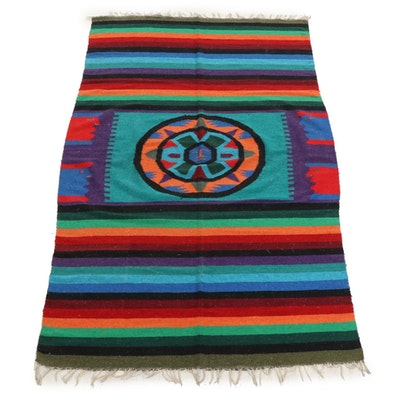 4'2 x 7'4 Handwoven Pictorial Kilim Wool Rug