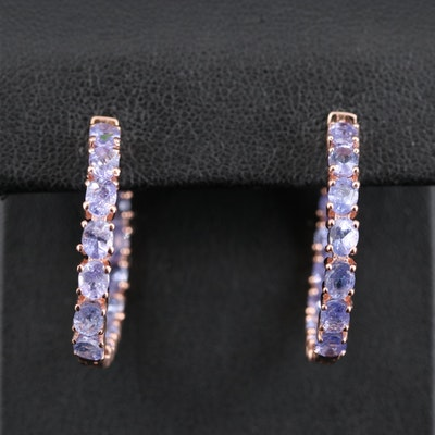 Sterling Silver Tanzanite Inside-Out Hoop Earrings