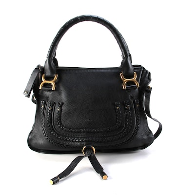 Chloé Medium Marcie Braided Satchel in Black Grained Leather