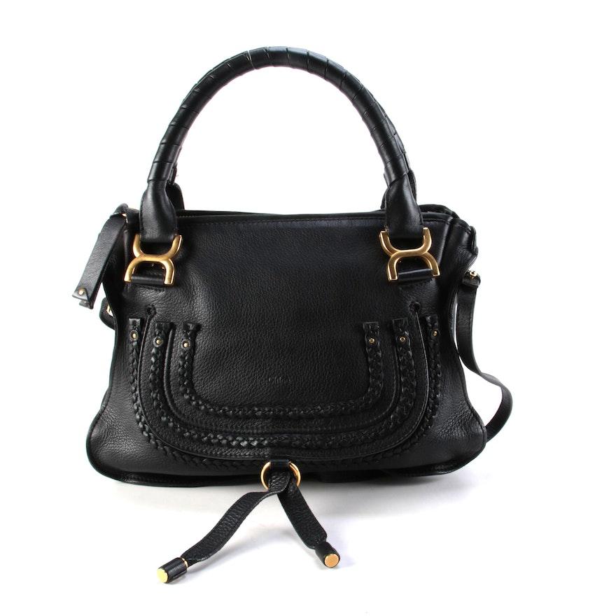 Chloé Medium Marcie Braided Satchel in Black Grained Leather