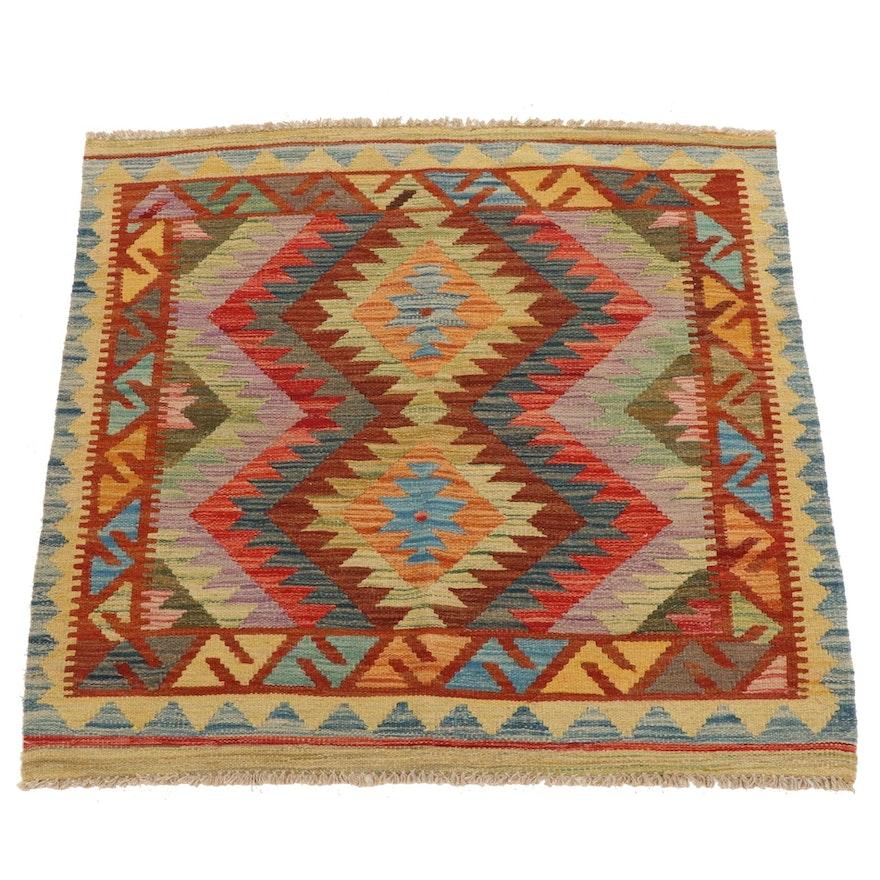 3'3 x 3'5 Handwoven Afghan Kilim Wool Accent Rug