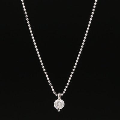 Platinum 0.51 CT Diamond Solitaire Necklace