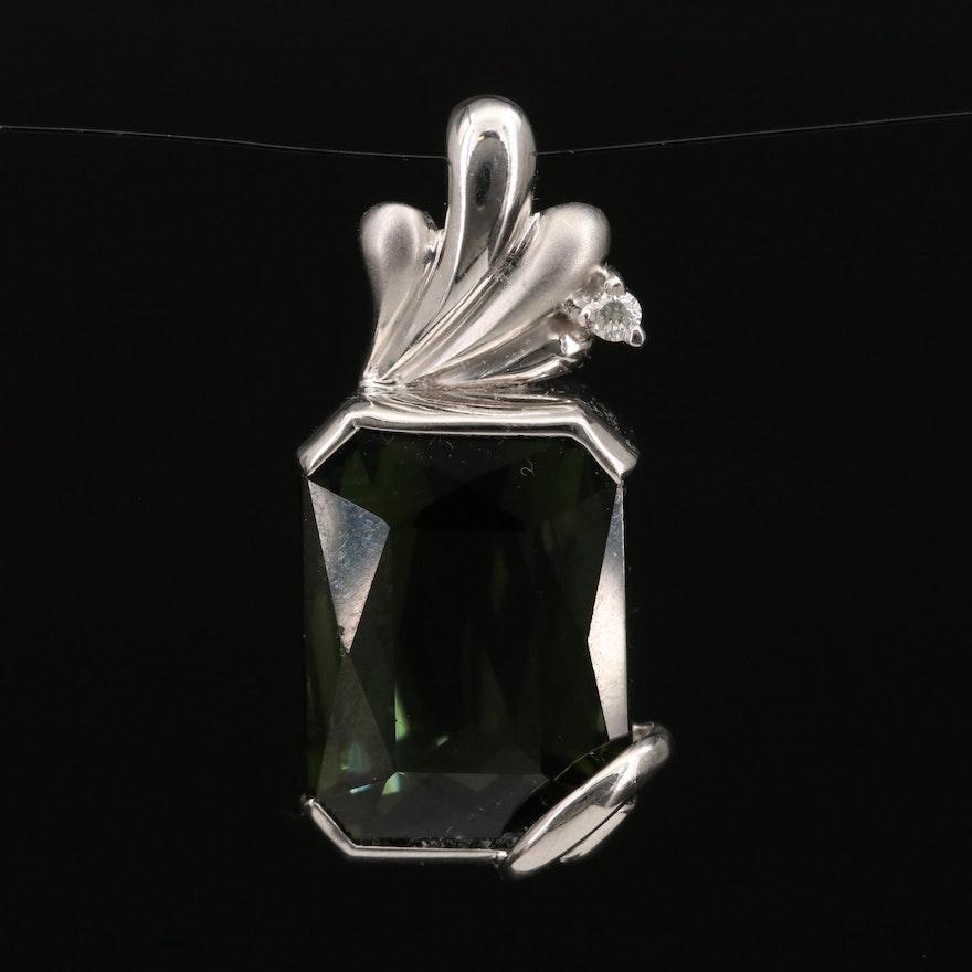 18K 12.88 CT Tourmaline and Diamond Pendant