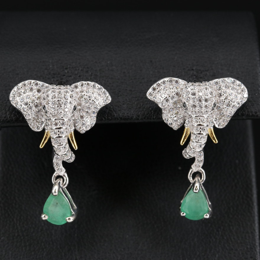 Sterling Cubic Zircon Elephant Drop Earrings Featuring Emeralds and Black Spinel