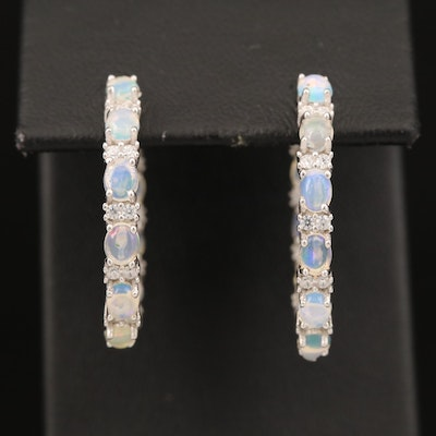 Sterling Opal and Cubic Zirconia Inside-Out Hoop Earrings