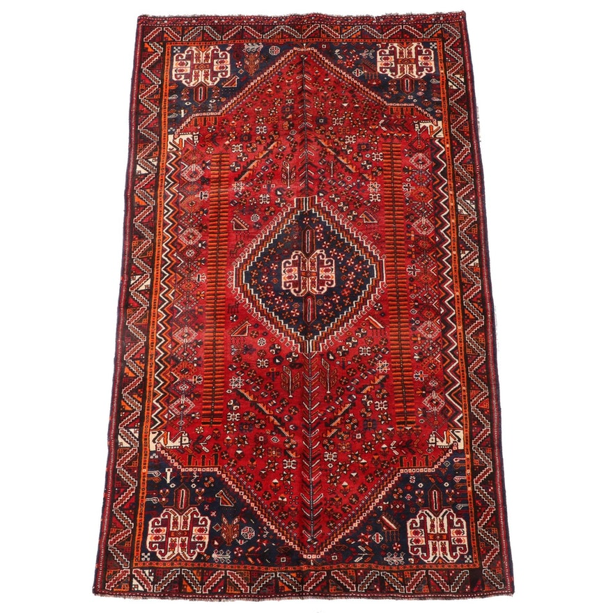 4'11 x 8'3 Hand-Knotted Persian Qashqai Wool Area Rug