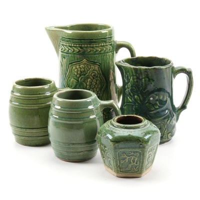 Grape an Floral Motif Earthenware Pitchers and Mugs with Other